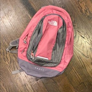 The North Face pink bookbag